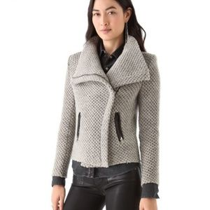 IRO Kristen Honeycomb Leather Trim Moto Jacket